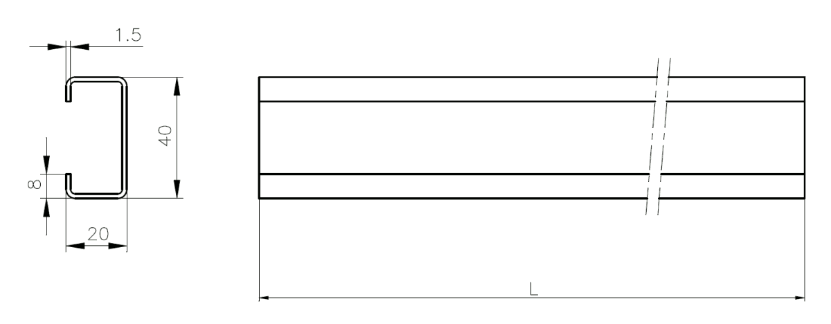 C-Profile 1.5 mm - technical drawing