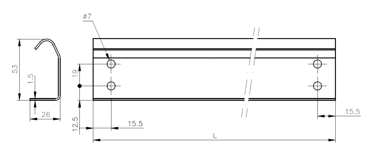 Vertical Track 1.5 mm - Technical drawing