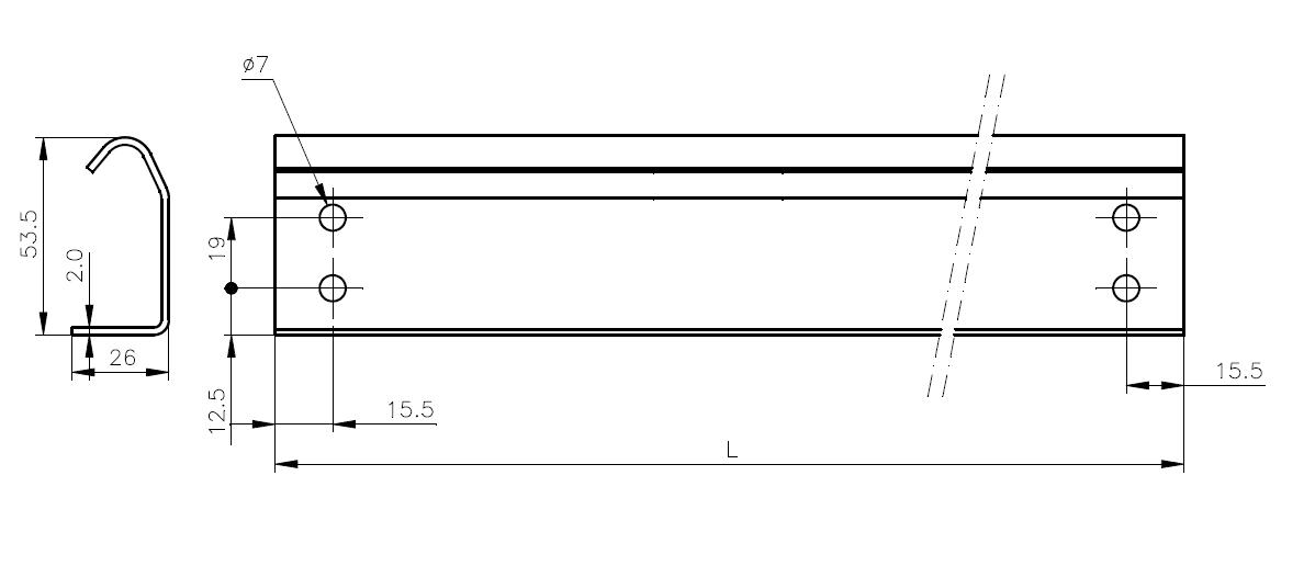 Kolejnice 2,0 mm - Technický nákres