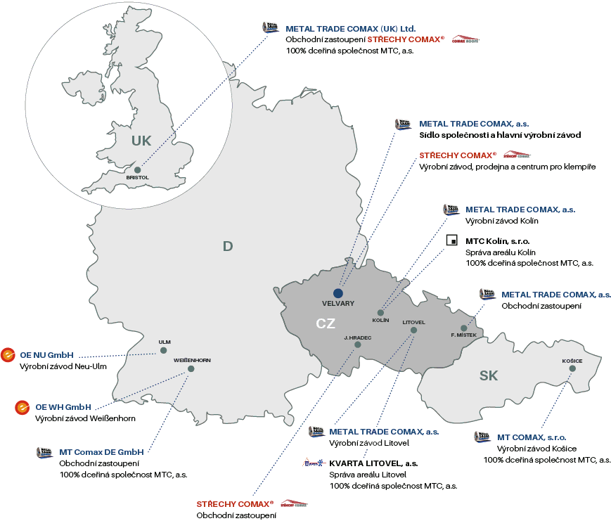 Map of MTC production plants and sales offices