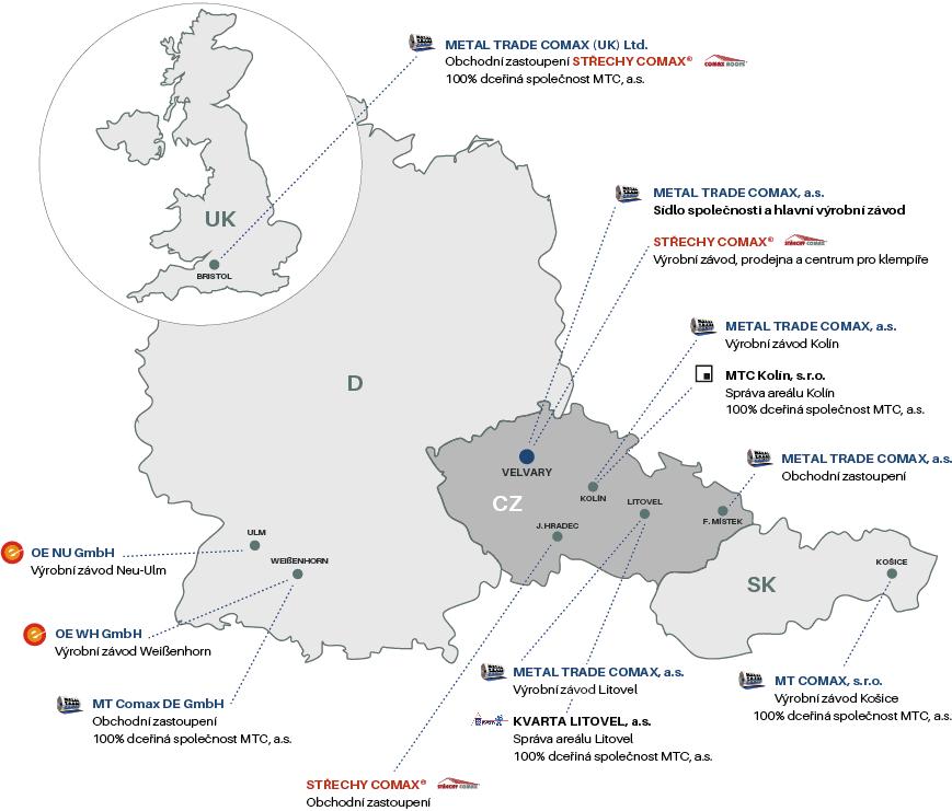 Mapa výrobních závodů a obchodních zastoupení MTC
