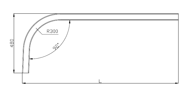 Curve R300 1.5 mm - Technical drawing