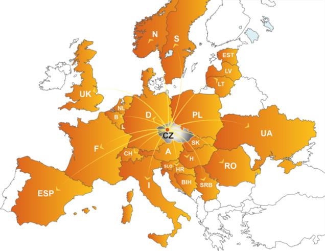 Naše produkty v Evropě